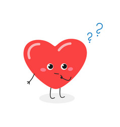 Cute heart cartoon character with question mark vector