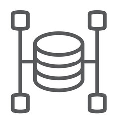 Data warehouse line icon data and analytics vector