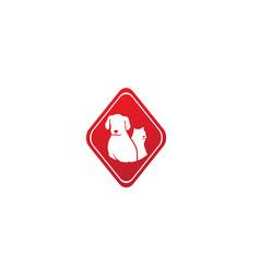 dog beside cat a friendly pet family logo design vector image