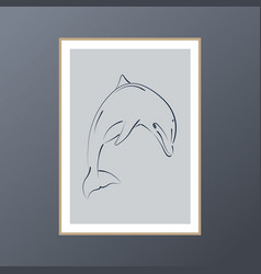 Dolphin on blue background poster for interior vector