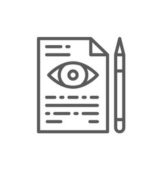 Eye doctor prescription line icon vector