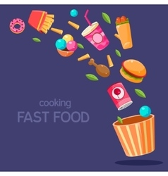 Fast Food Flying In Paper Bucket vector