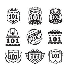 Fire man emblem vintage logo design vector