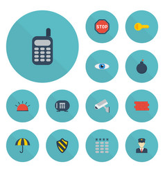 flat icons safe vision parasol and other vector image
