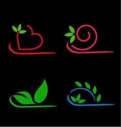 Floral leaf logos vector image