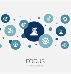 Focus trendy circle template with simple icons vector