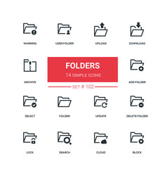 folders - flat design style icons set vector image