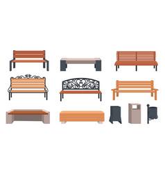 Garden bench cartoon wooden and wicker furniture vector