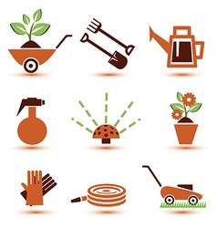 garden tools icons set vector image
