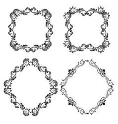geometrical shape ornaments vintage black frames vector image
