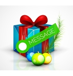 Gift box with Christmas ball toys vector