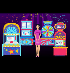 girl visiting casino place banner vector image