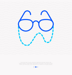 glasses on chain for elder people thin line icon vector image