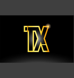 Gold black alphabet letter tx t x logo vector