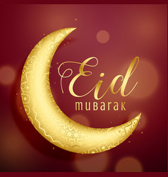 Golden crescent moon on red background for eid vector
