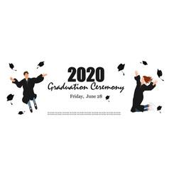 Graduation ceremony banner young graduate vector