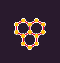 Graphene icon atomic carbon structure vector