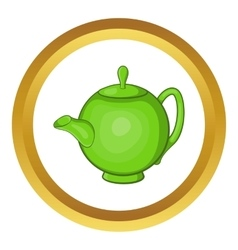 Green teapot icon vector image