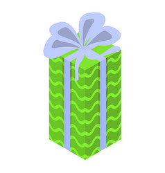 green xmas gift box icon isometric style vector image