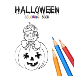 Halloween Coloring Book Cute Baby Cartoon vector