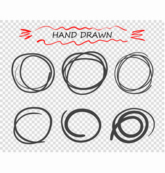 hand drawn black round doodle lines vector image