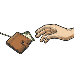 hand is trying to grab wallet on rope color sketch vector image