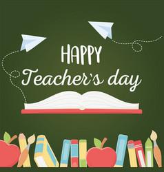 Happy teachers day book apples pencils crayons vector