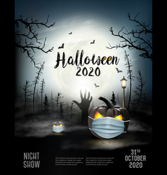 holiday halloween background with pumpkins vector image