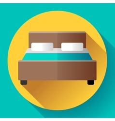 Hotel Double Bed icon flat style vector image