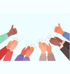 human hands clapping banner with text place vector image