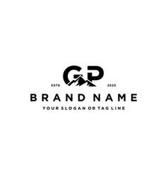 Letter gp mountain logo design vector