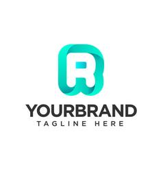 Logo r letter gradient isolated on white vector