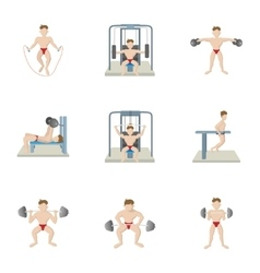 Lose weight at gym icons set cartoon style vector