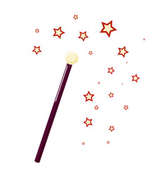 Magic wand with small stars attribute magician vector