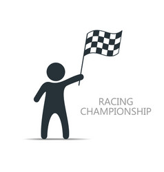 man with checkered flag icon man holding flag vector image