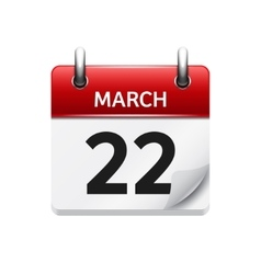 March 22 flat daily calendar icon Date vector