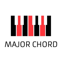 Minimalistic piano keyboard logo with major chord vector image