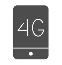 Mobile phone with 4g solid icon 4g smartphone vector