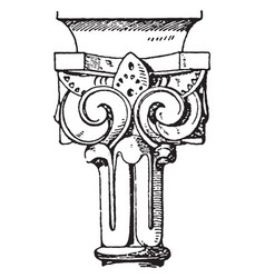 Moorish capital upper termination design vector