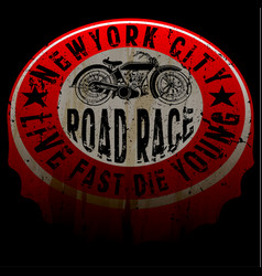 new york motorcycle tee print design vector image