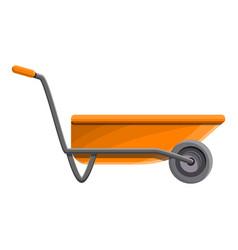 orange wheelbarrow icon cartoon style vector image