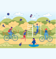 people outdoor activity and sport workout vector image