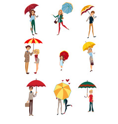 people under umbrella set kids men and women vector image