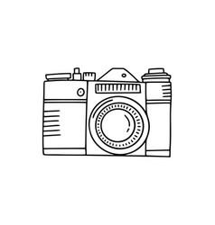 photo camera doodle icon hand drawn icon vector image