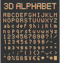 pixel font in retro style bricks type vector image