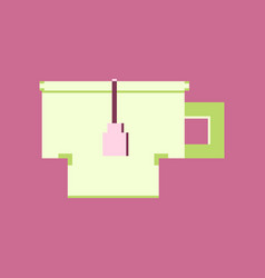 pixel icon in flat style cup of tea vector image