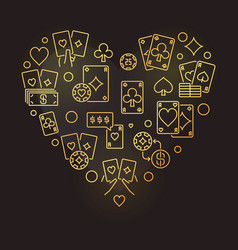 poker heart modern golden outline vector image