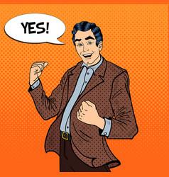 Pop Art Excited Businessman Celebrating Success vector