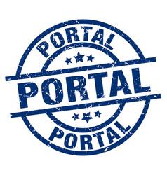 Portal blue round grunge stamp vector