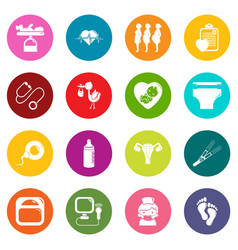 Pregnancy icons set colorful circles vector